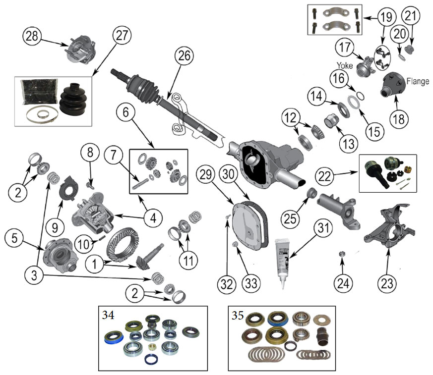 Diagrams    Axle Parts    Front Axle Diagram For Model 30 Grand Cherokee Wj