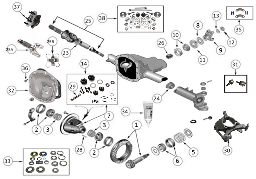 diagrams    axle parts    front axle diagram for dana 30