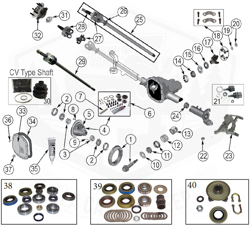 Diagrams Axle Parts Front Axle Diagram For Dana 30 Grand Cherokee Zj