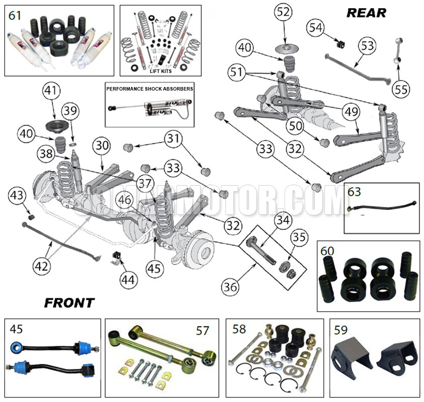 suspension diagram for wrangler tj (1997-2006)  somarmotor.com
