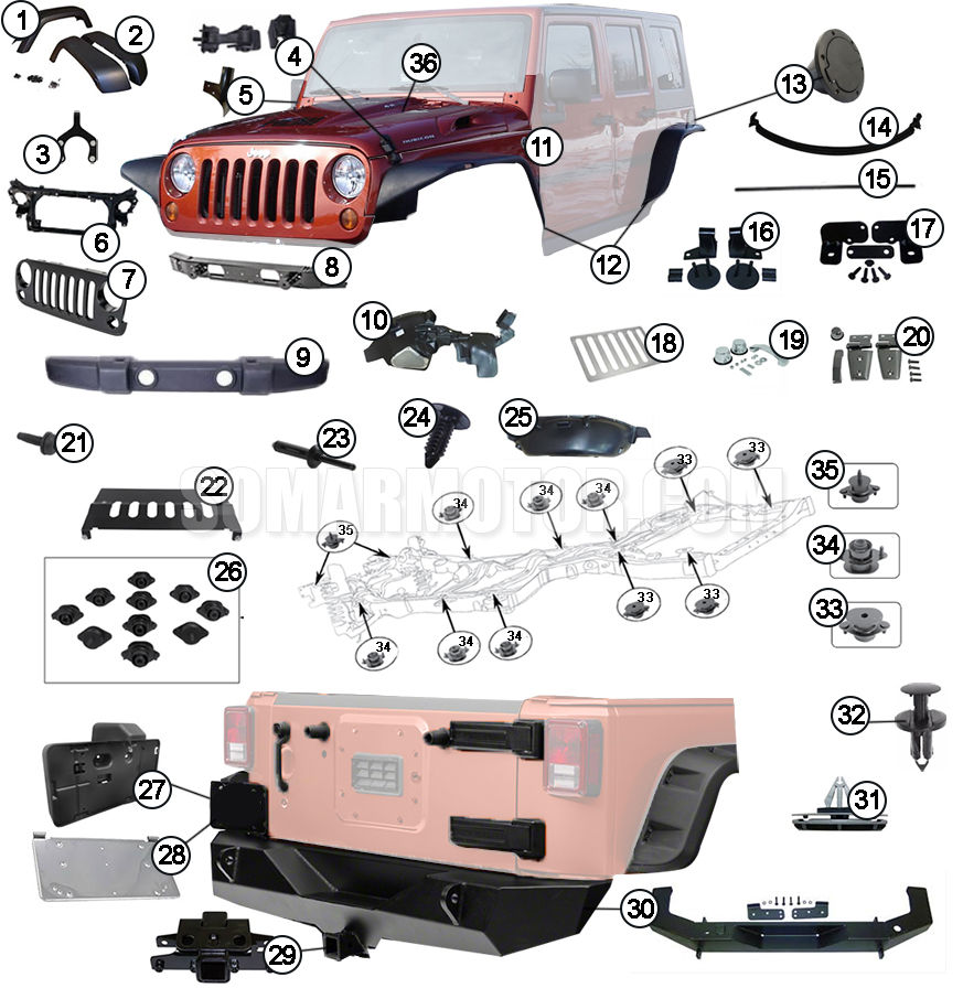 Body Diagram For Jeep Wrangler Jk  2007