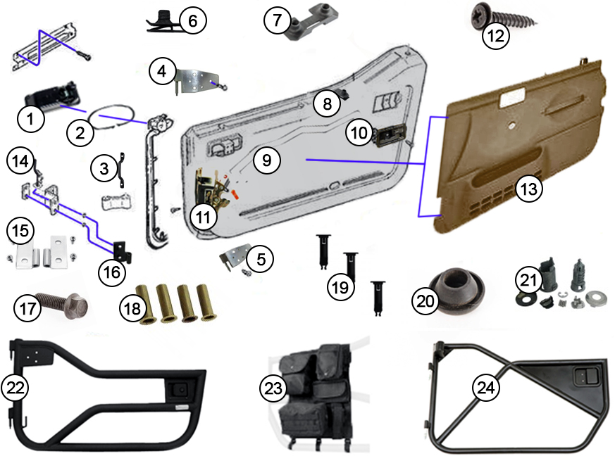 Diagrams For Jeep    Door Parts    Jeep Wrangler Tj  1997