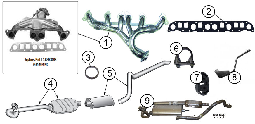diagrams for jeep exhaust parts 1997 2006 jeep wrangler tj1997 2006 jeep wrangler tj