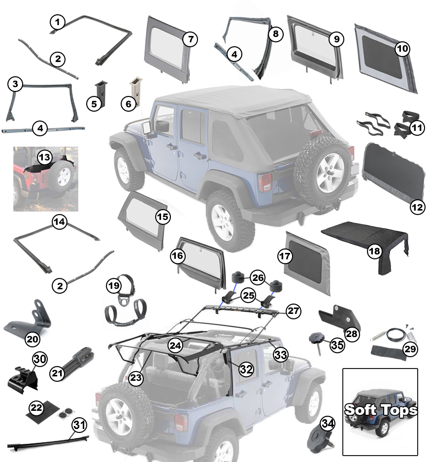 Diagrams For Jeep    Soft Tops    2007