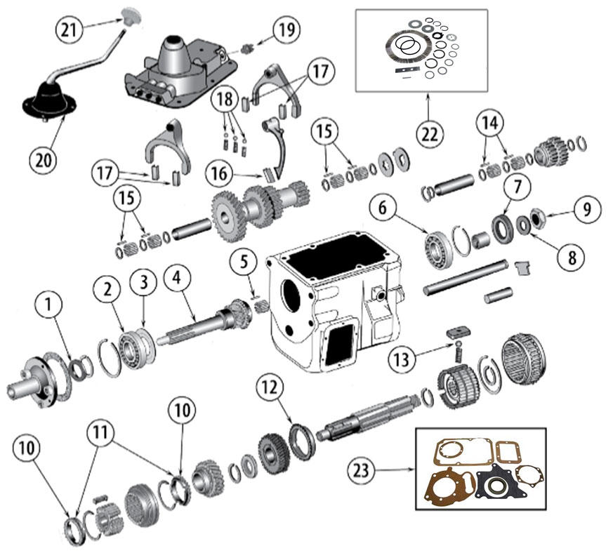 Diagrams For Jeep :: Transmission Parts :: Model T-18, Borg-Warner 4