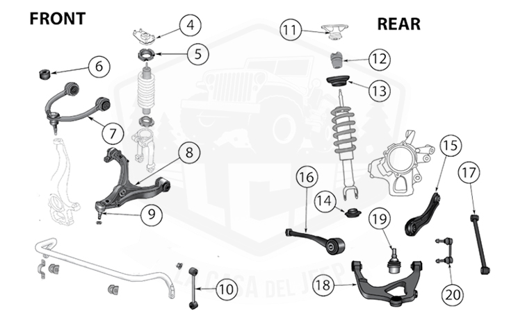 Diagrams For Jeep    Suspension Parts    Grand Cherokee Wk