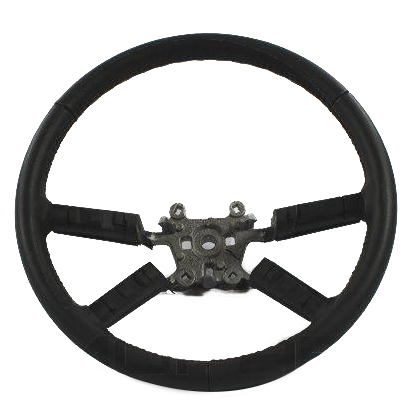 Leather Steering Wheel with Bright Spokes, Gray