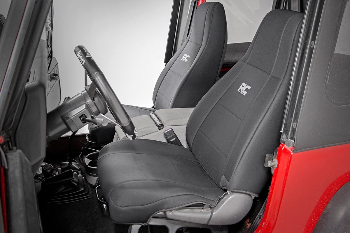 Jeep Wrangler Seat Covers >> Rough Country Jeep Neoprene Seat Cover Set, Black; 1991